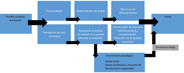 Adaptación del Modelo de Williams y Andersen (1998). Fuente: Williams, J.M. y Andersen, M.B. (1998). Psychological Antecedents of Sport Injury: Review and Critique of the Stress and Injury Model. Journal of Applied Sport Psychology, 10, 5-25.